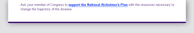 Support the National Alzheimer's Plan