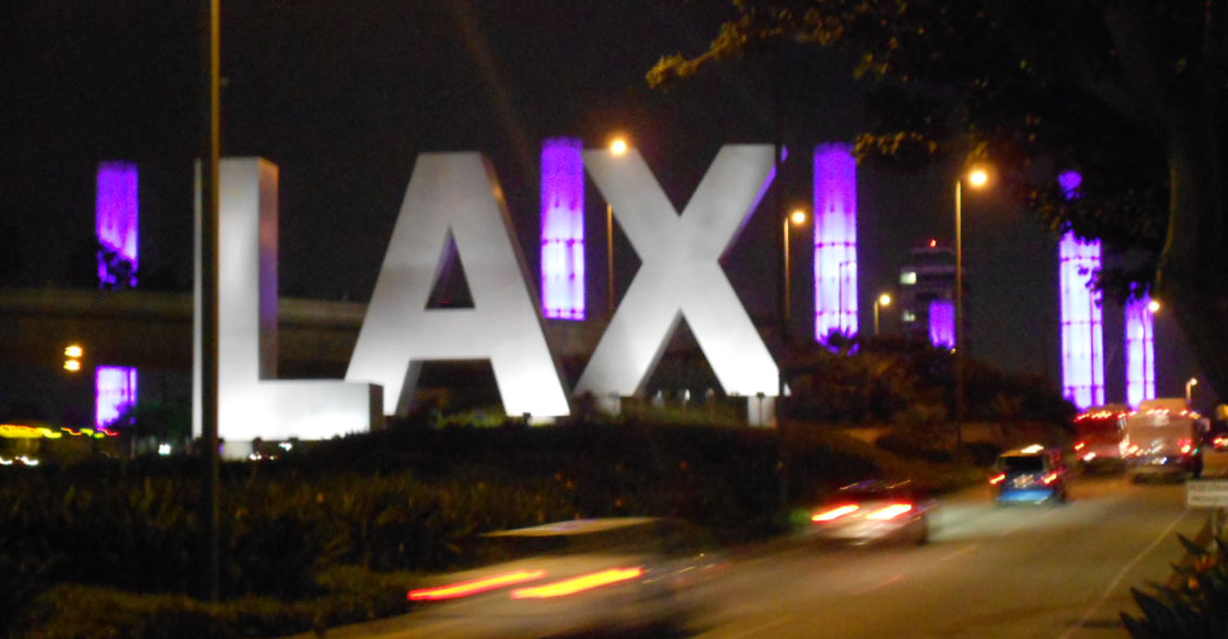 The Los Angeles International Airport lights up in purple in the fight to #ENDALZ.