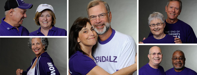 The people pictured are individuals living with Alzheimer's and their care partners. They are members of our Early-Stage Advisory Group and help raise awareness, guide our support programs, and serve as advocates.