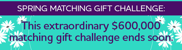 Spring Matching Gift Challenge: This extraordinary $600,000 matching gift challenge ends soon.