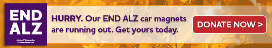HURRY. Our END ALZ car magnets are running out. Get yours today. Donate Now.