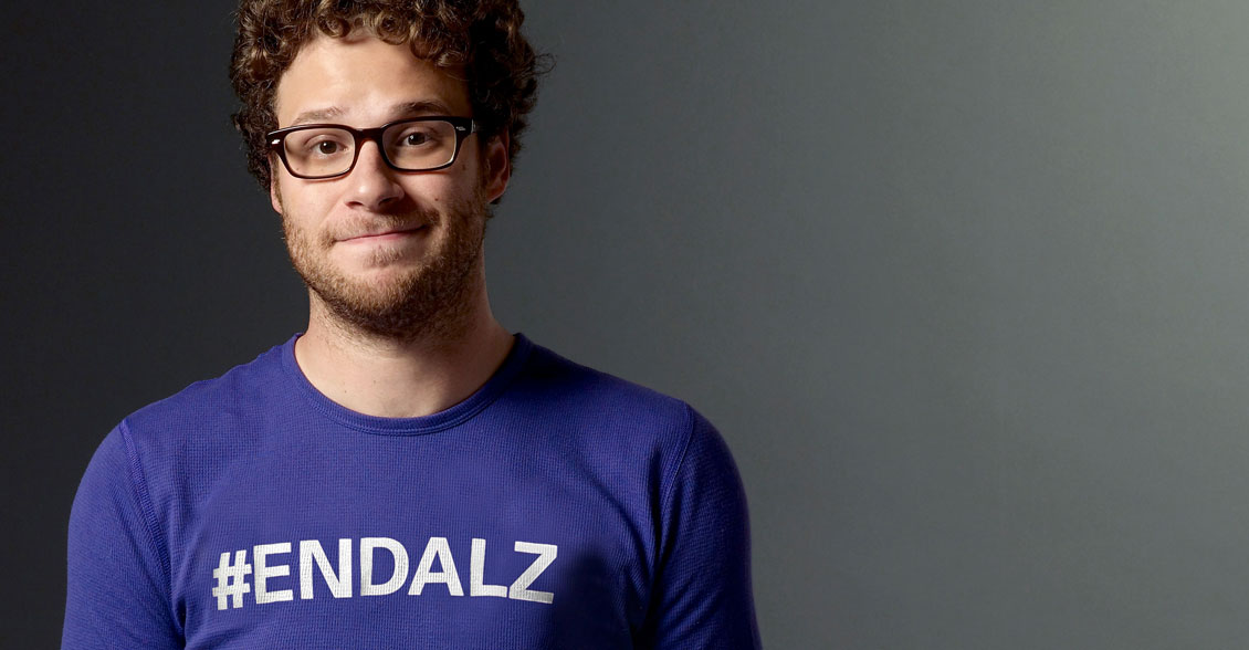 Seth Rogen continues in the fight to end Alzheimer's in purple!