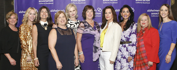 Women leading the fight against Alzheimer's disease gather at A Reason to Hope. Left to right: Donna McCullough, Blaire Kaplan, Elizabeth Gelfand Stearns, Kathryn Croskrey, Laurie Burrows Grad, Pam Montana, Marcia Gay Harden, Jackie Kouri, Breena Gold, Kristen Bonnington.