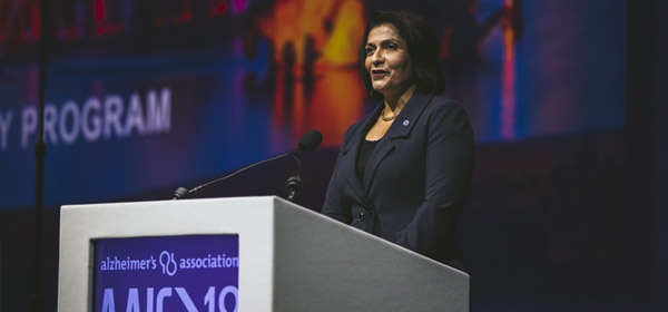 Dr. Maria Carrillo welcomes more than 5,600 attendees to AAIC 2018, the highest attendance in AAIC history.