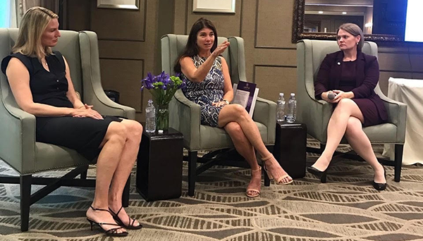 (l-r), Mindy Henderson, Elizabeth Gelfand Stearns and Dr. Heather Snyder engage in discussion.