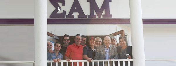 The Judy Fund Founder Marshall M. Gelfand with members of Sigma Alpha Mu.