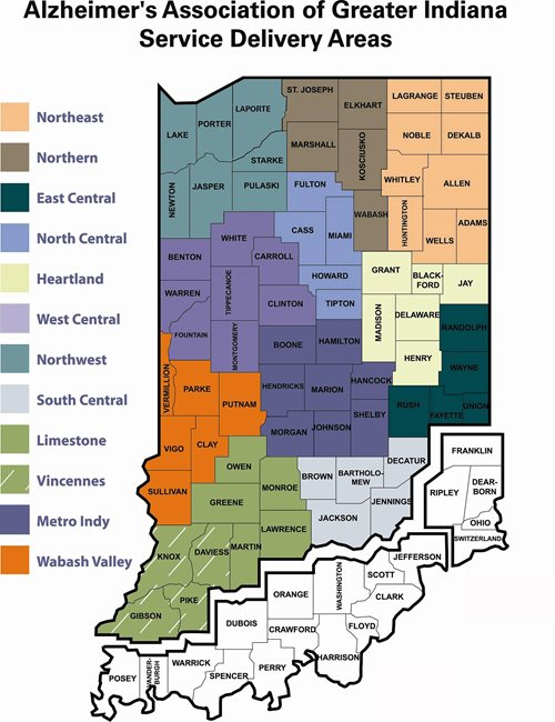 Alzheimer's Association of greater Indiana service Delivery Areas