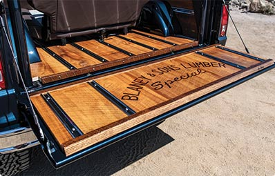 The custom Ford Bronco that was auctioned to benefit the Alzheimer's Association featured the Blaney & Sons Lumber Company name burned into the wood on the truck bed.