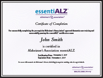 essentialz certification program | alzheimer's association